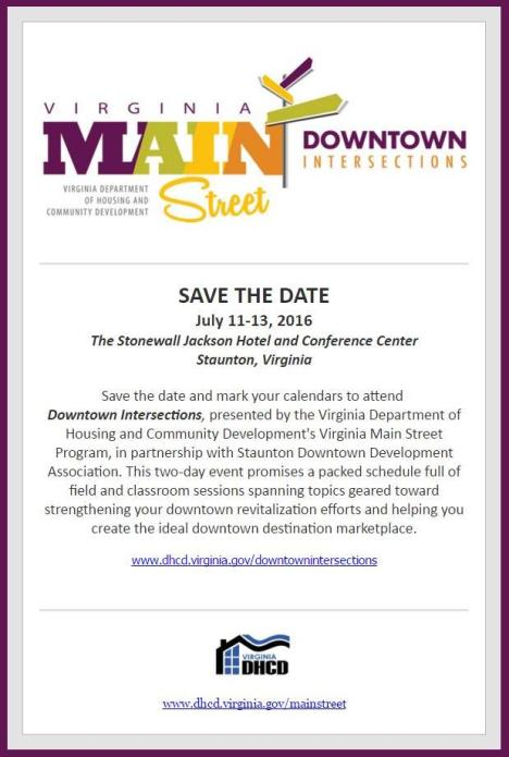 VMS Downtown Intersections 2016 Save the Date